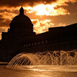 Sunset on the World headquarters of the Christian Science Church in Boston.