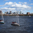 Boats moored in Charles River, Boston, MA.