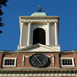 Colonial Church with Clock and Bell Tower in Boston, MA.