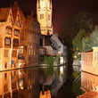Night view of Bruges on the waterfront.