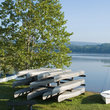 Canoes and a sailboat for rent at Pennsylvania state park.