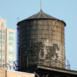 Old wood water tank, only hundred of them remain in Chicago.