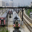 Commuter trains in Chicago, IL.