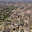 Aerial view of highway interchange in Chicago, Illinois.