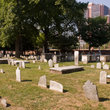 The old grave stones of the Christ Church burial ground in Philadelphia.