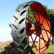 Combine wheel on farm in Midwestern Illinois.