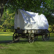 Covered wagon on the Utah prairie.