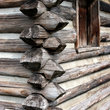 Detail on a pioneer log cabin in Nashboro village, Tennessee.
