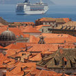 A cruise ship sailing from Dubrovnik.