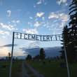 Entrance to cemetery at Dusk, South Dakota.