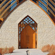 Entrance to Holy Family Shrine in Omaha, Nebraska.