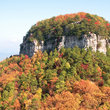 Fall descends on Pilot Mountain, North Carolina.