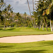 Golf greens with sand trap in Hawaii.