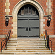 Gothic-style entrance to a church in Northeastern Ohio.