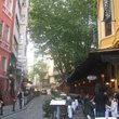 The outdoor cafes in the side streets of Istanbul.