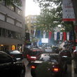 Busy street with flags marking Italian week in Istanbul.