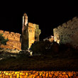 The ancient Tower of David at night in Jerusalem.