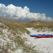 Kayaks in the sand on Emerald Isle, North Carolina.