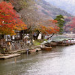 River boats on the Katsura River in Arashiyama.