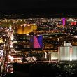 Aerial view at night of Las Vegas.