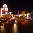 Las Vegas Boulevard at night.