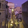 A street in Lisbon at night.