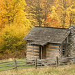 Log cabin in Grayson Highlands State Park, Virginia.