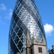 The uniquely shaped Gherkin building in London.
