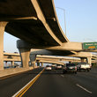 Freeways intersect over and under each other, Los Angeles. .