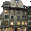 Painted facades in Hirschenplatz square in Lucerne.