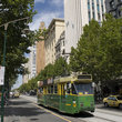 Tram on the street in Melbourne.