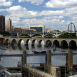 Mississippi river and the Stone Arch Bridge in Minneapolis.
