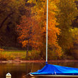 Covered sail boat on Lake Calhoun, Minneapolis.