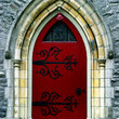Ornate door and entrance to a church in Montreal.