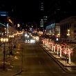 Street lights in downtown Montreal at night.