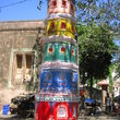 A column decorated at the cross streets in Banganga settlement.