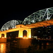 Shelby Street Bridge at night in Nashville, Tennessee.