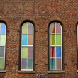 Stained glass windows in a Nashville building.