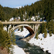 Old scenic bridge in the Idaho mountains.