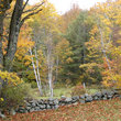 Old stone fence in Vermont field.