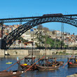 Boats and bridge at Porto.