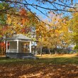 Park Gazebo surrounded by Fall colors in Vermont.