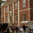 Horse and carriage in front of Library Hall in Philadelphia.