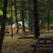 Picnic site at campground in Vermont.