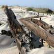 Remains of a shipwreck in the sand on the Outer Banks.