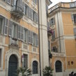 The balconies of the ancient buildings in Rome.