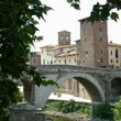 The Tiber River Bridge in Rome.