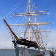 Sailing ship Balclutha docked in San Francisco.