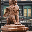 Lion Fountain at Cotton Exchange Factors Walk area in the Historic District of Savannah.
