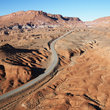Scenic highway through desert landscape of Utah.